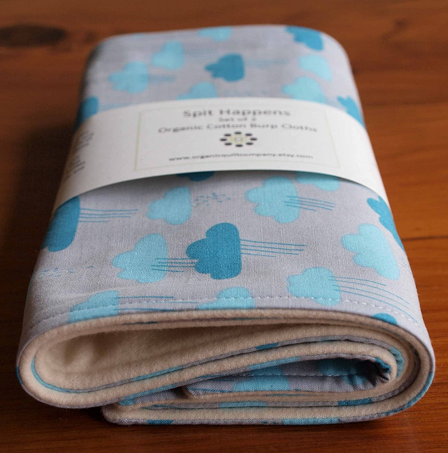 Organic Burp Cloths Set of Two, Cloudy Days