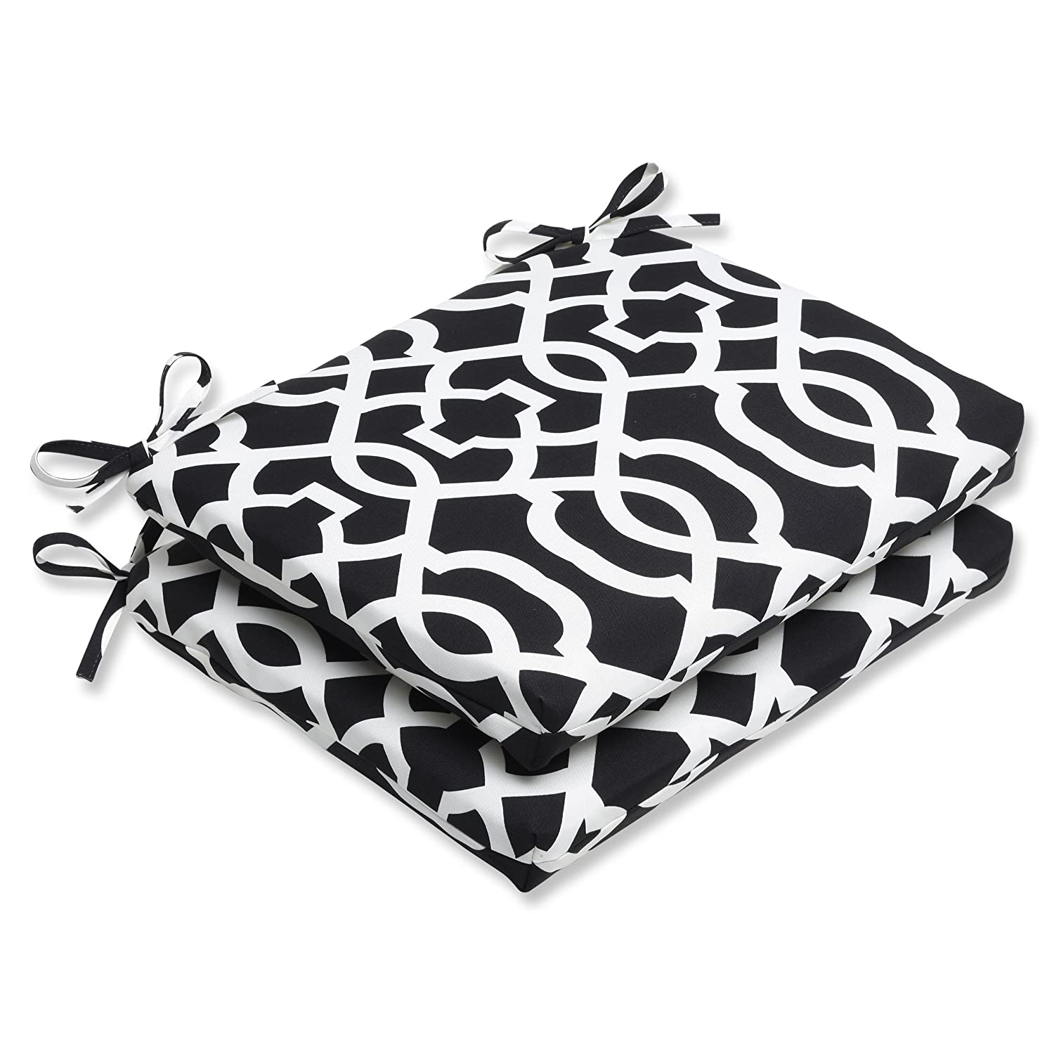 Pillow Perfect Outdoor New Geo Squared Corners Seat Cushion, Black/White, Set of 2