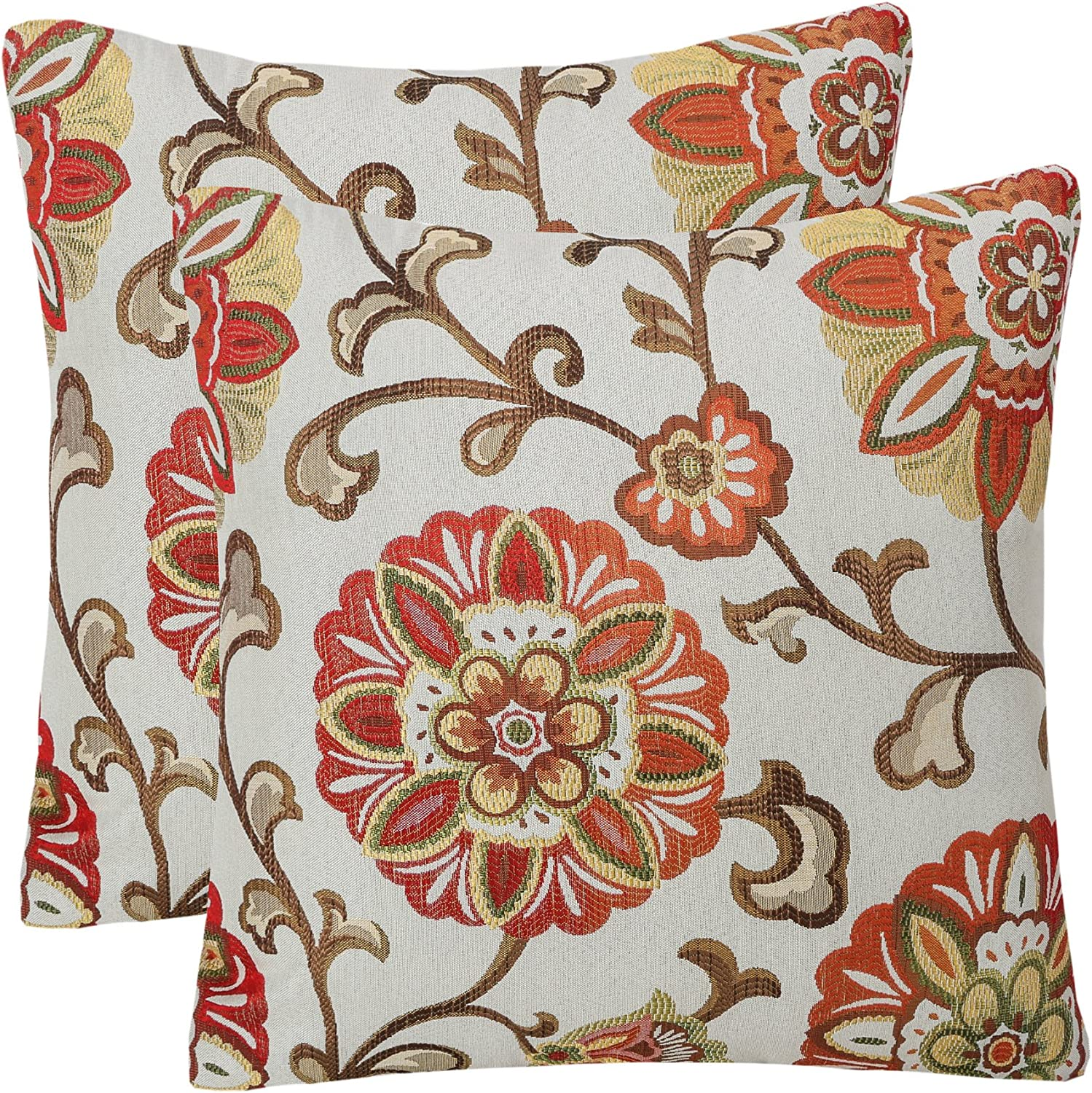 Cream ivory grey yellow brown modern floral leaf designer throw pillow cover 19 inch square with corded edge