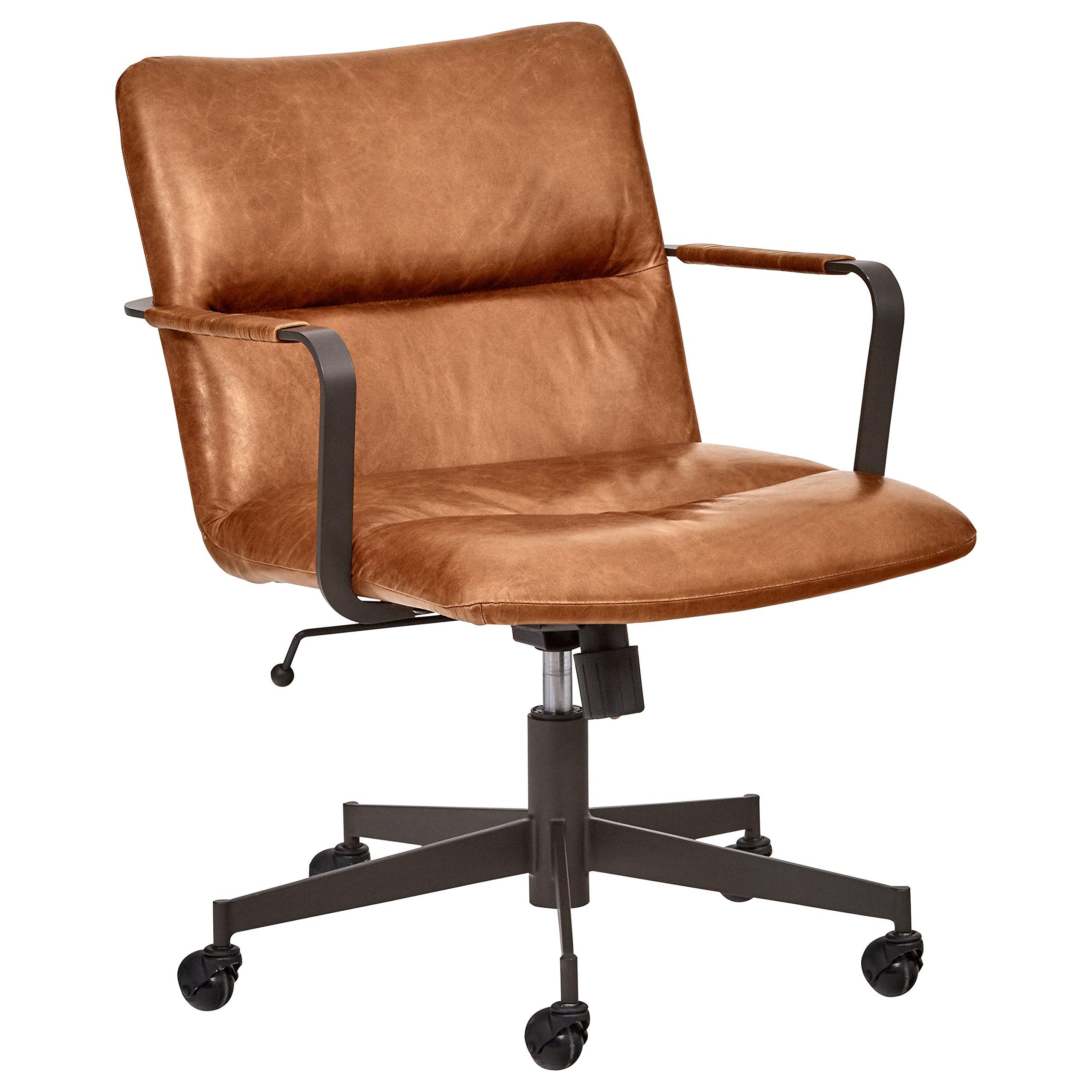 Rivet Mid-Century Leather Three-Panel Chair on Wheels, 25.75'' W, Saddle