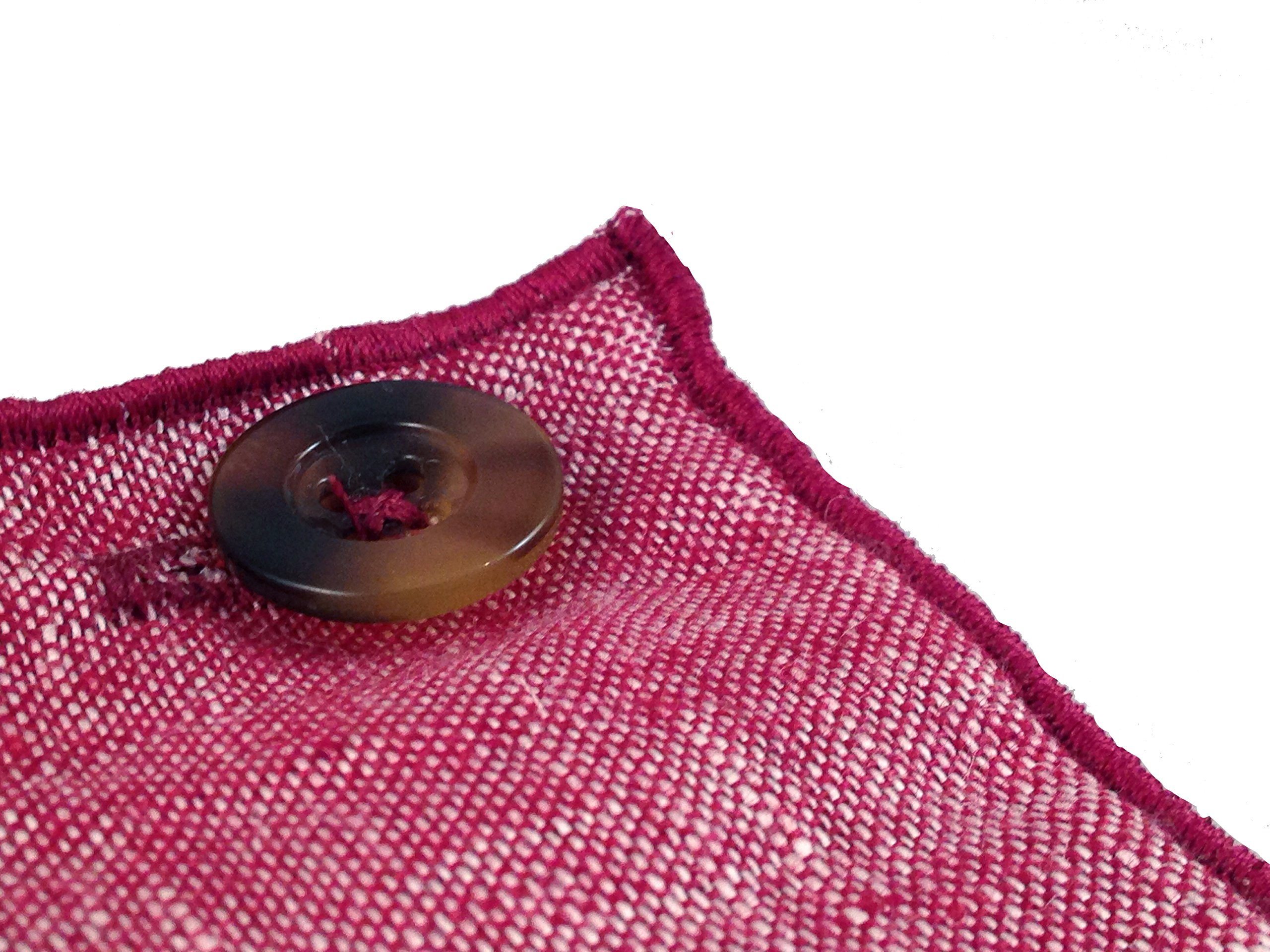 Maroon Linen with Brown Horn Button Men's Pocket Square by The Detailed Male by The Detailed Male (Image #4)