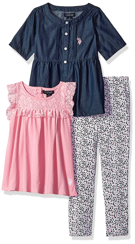 U.S Girls Fashion Top and Legging 3 Piece Set Polo Assn