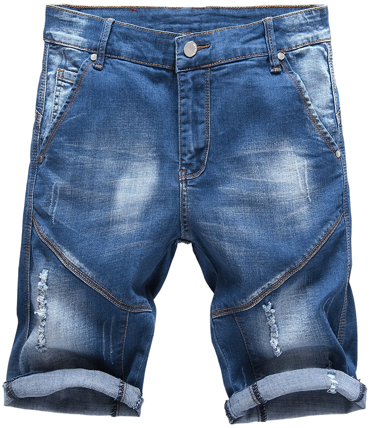 HENGAO Men's Vintage Ripped Holes Mid Rise Washed Jeans Slim Shorts