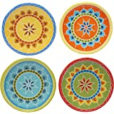 "Certified International Valencia Canape Plates (Set of 4), 6.25"", Multicolor"