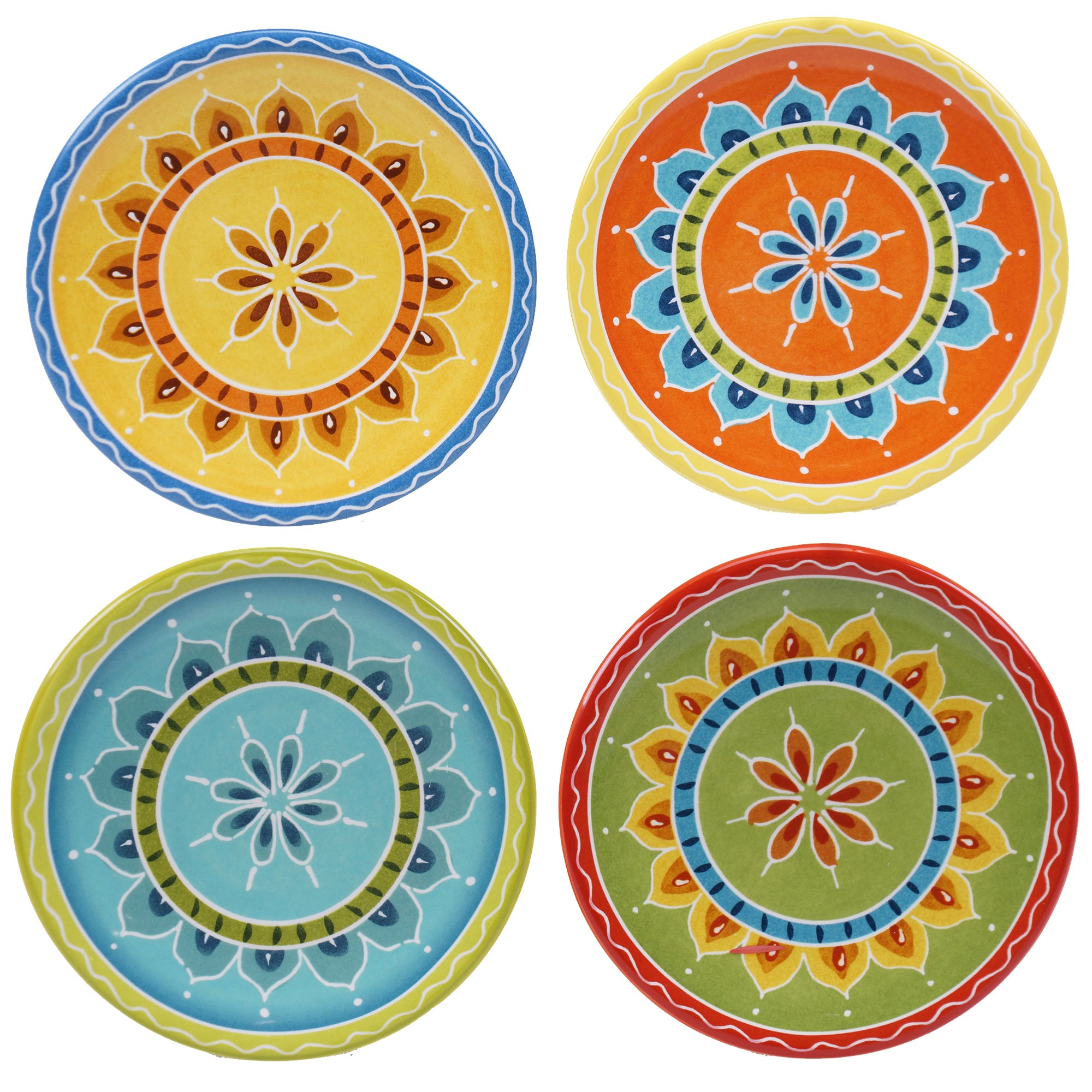 Certified International Valencia Canape Plates (Set of 4), 6.25'', Multicolor