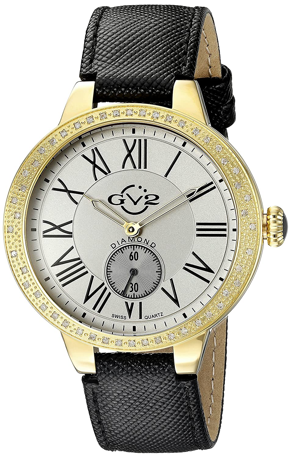 Gv2 By Gevril Astor Womens Diamond Swiss Quartz Black Leather Strap Watch, (Model: 9107) by Gv2 By Gevril