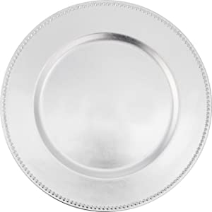 ChargeIt by Jay Beaded Round Charger Plate, Silver