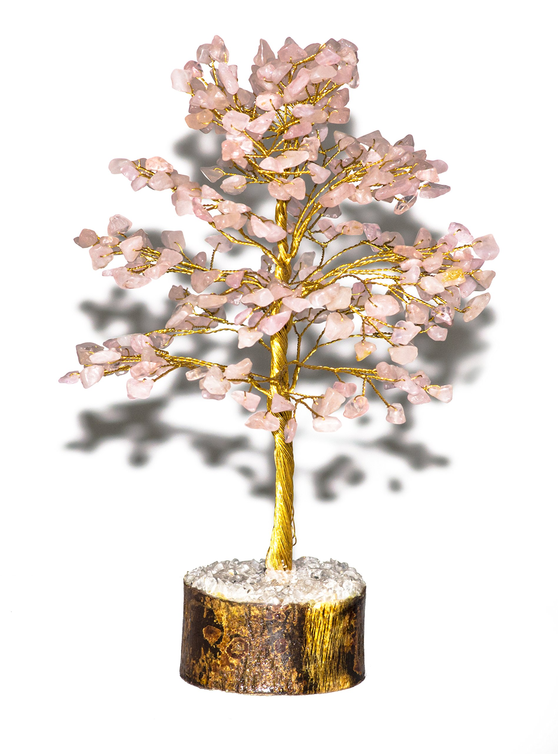 Crocon Natural Color Healing Gemstone Crystal Bonsai Fortune Money Tree for Good Luck, Wealth & Prosperity Spiritual Gift Size-10 INCH (Golden Wire) (Rose Quartz)