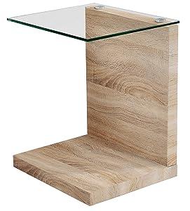 Mesa auxiliar color roble y cristal