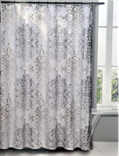 Tahari Milan Scroll Fabric Shower CUrtain Gray And Tan Pattern On White  Background
