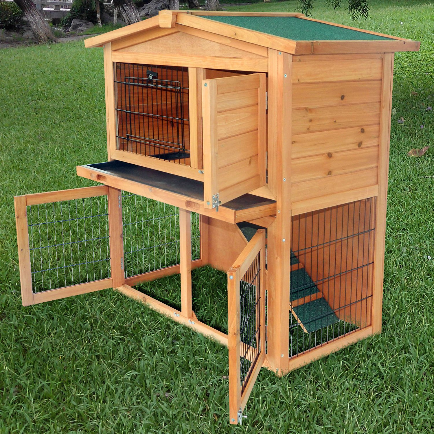 Wooden Rabbit Hutch Small Animal House Pet Cage Chicken Coop A-Frame 40''Pet Holds Cages Home - House Deals by House Deals (Image #5)