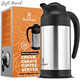 ChefGiant Coffee Carafe 24 oz, Coffee Thermos, Coffee Server Vacuum Insulated Stainless Steel Carafe, Hot Beverage Dispenser, Water Carafe, Black & Silver Thermal Coffee Carafe, Double Wall-Commercial