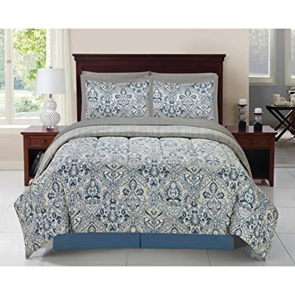 Amazon Com Overstock Blue Scallop 8 Piece Complete Bed In A Bag