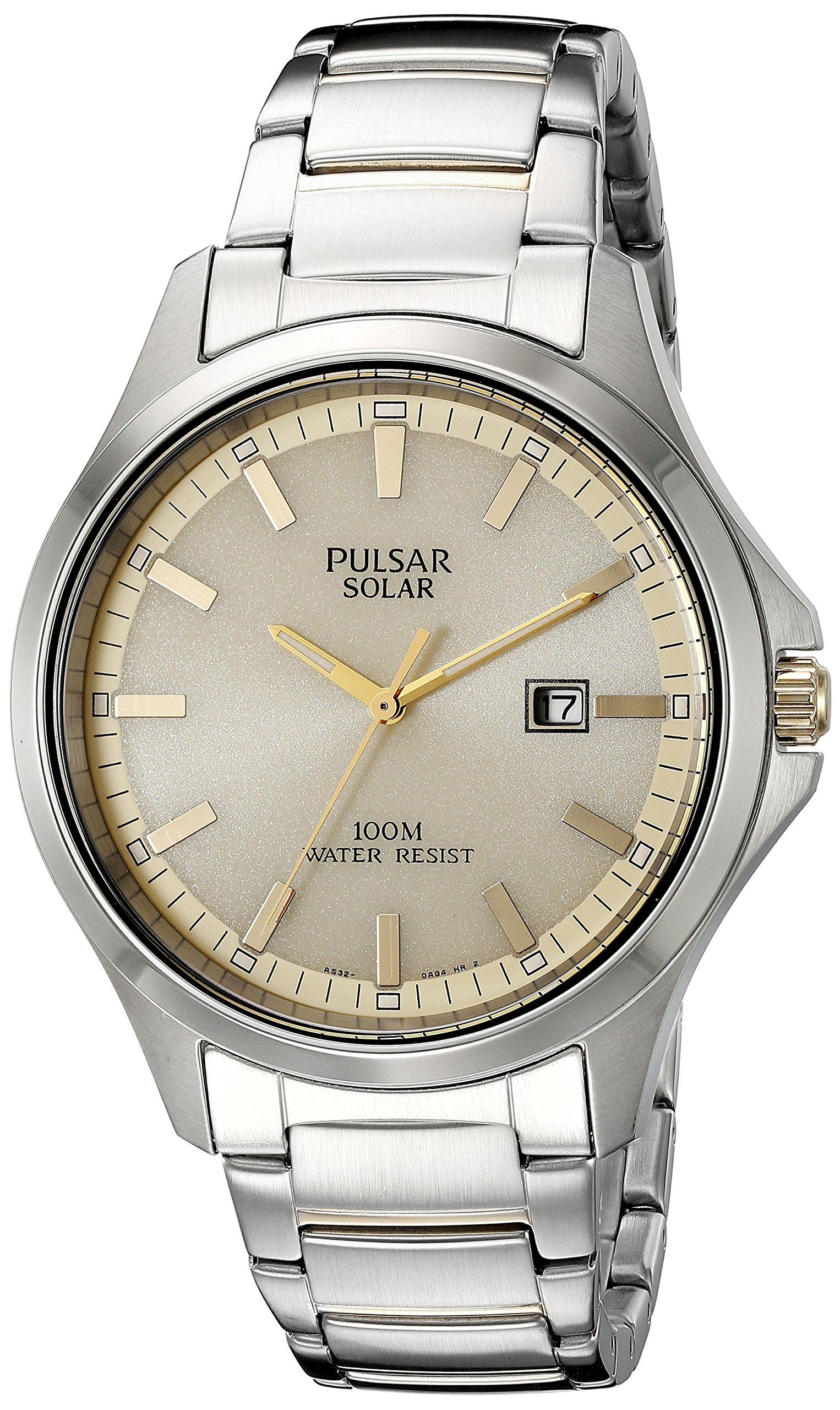 Pulsar Men's PX3075 Solar Dress Analog Display Japanese Quartz Two Tone Watch