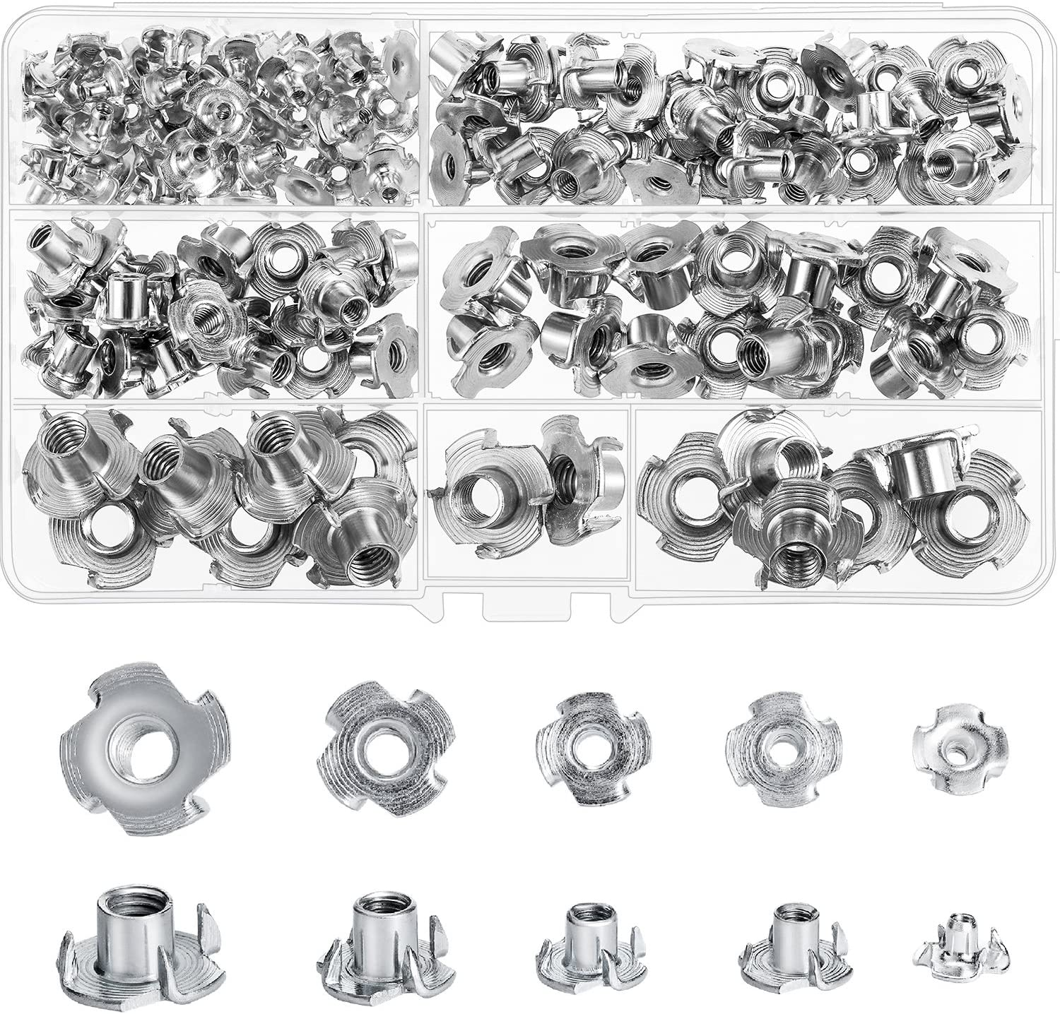 M3// M4// M5// M6// M8// M10 binifiMux 145pcs Metric 4 Pronged Tee Nuts Assortment Kit for Inserted in Wood Furniture Carbon Steel Silver Tone
