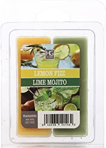 Hosley Dual Pack Lemon Fizz/Lime Mojito Wax Cubes- 2.5oz. Hand Poured Wax Infused with Essential Oils. Ideal for Weddings, Spa, Reiki, Meditation Settings O9