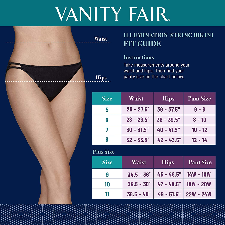 Vanity Fair Femme Illumination Plus Size Bikini Panty 18810 sous-vêtement de Type Bikini Lot de 3 - Bleu Marine/Blanc/Acier.