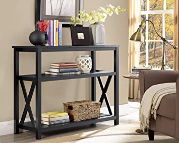 Black 3 Tier Occasional Console Sofa Table Bookshelf