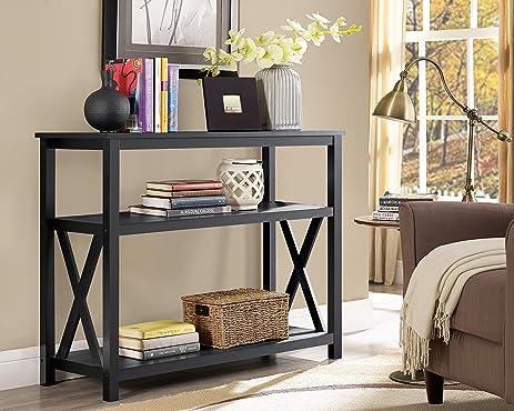 Black 2 Tier Occasional Console Sofa Table Bookshelf