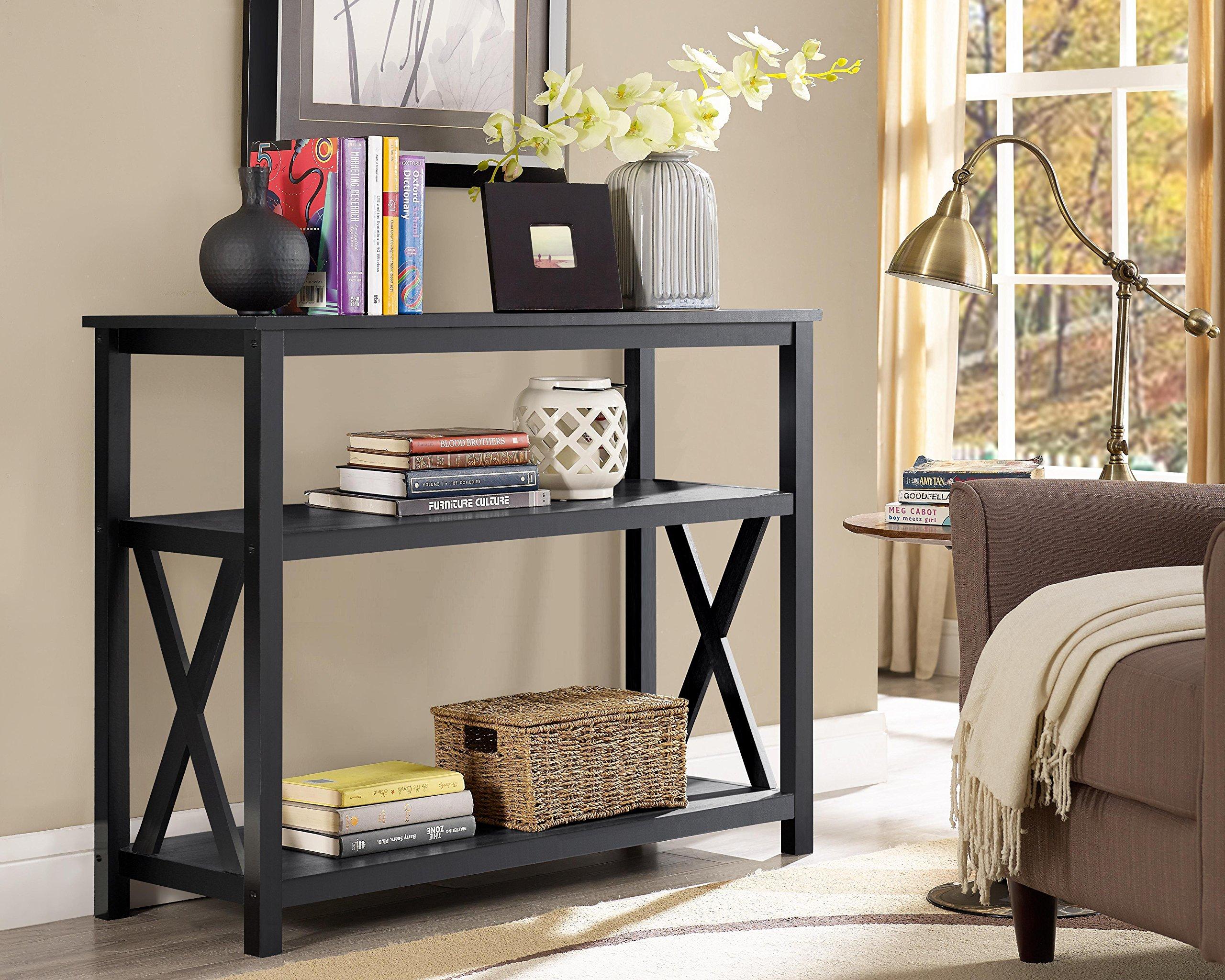Black 2-Tier Occasional Console Sofa Table Bookshelf