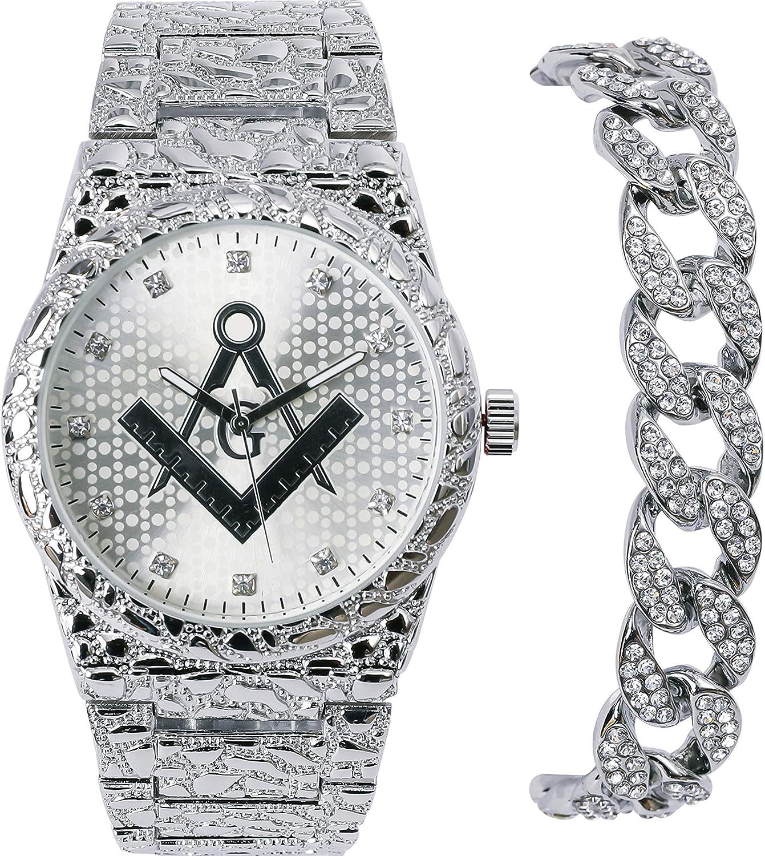 メンズ 高級 アイスアウト 14K ホワイトゴールドメッキ フリーメイソン ナゲット メタルバンド ラッパーズ ブリングウォッチ マイアミキューバブレスレット SET(Watch+Bracelet)