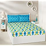 Amazon Brand - Solimo Kaleidoscope Dreams 144 TC 100% Cotton Double Bedsheet with 2 Pillow Covers, Green and Blue