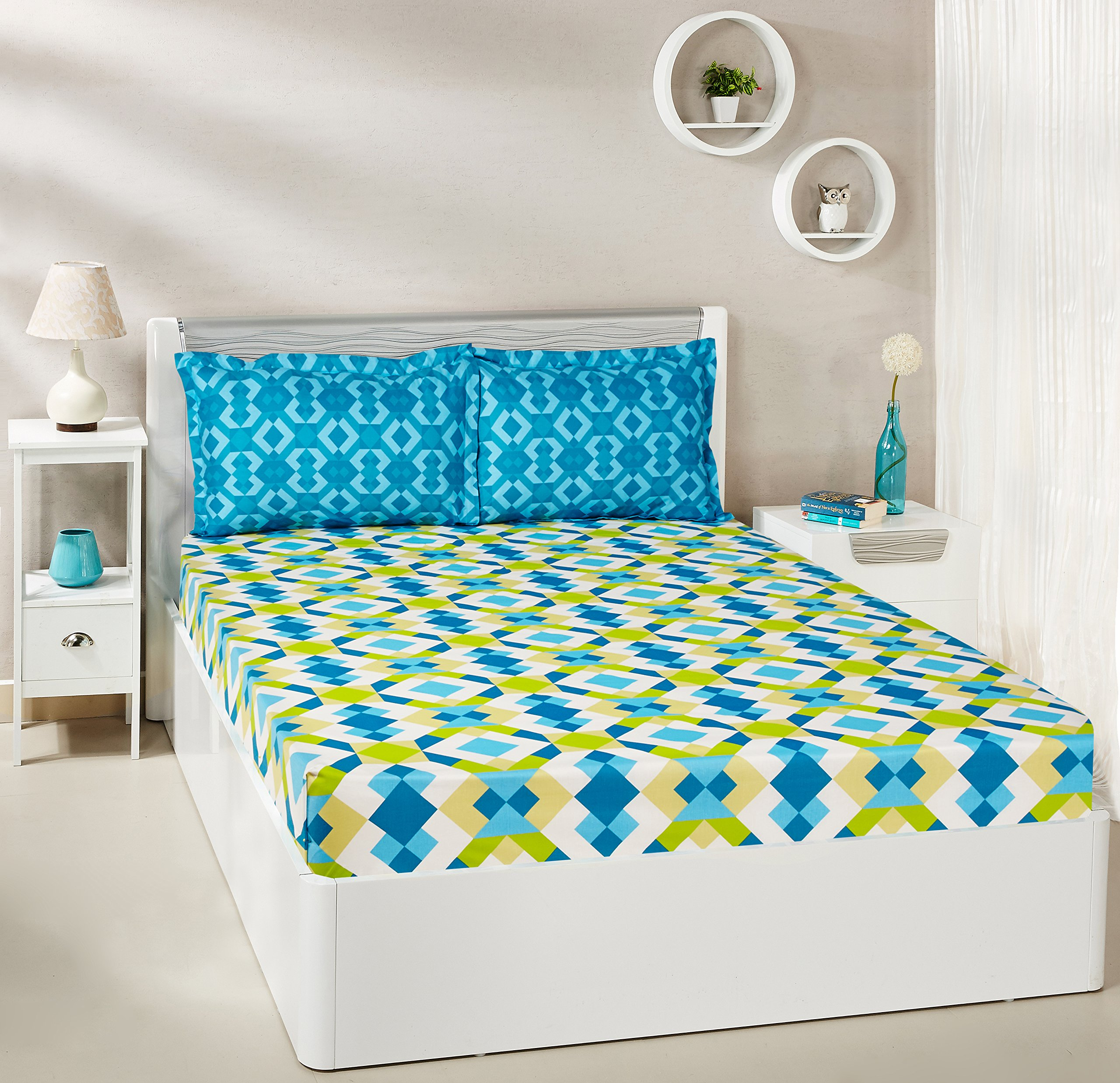 Amazon Brand - Solimo Kaleidoscope Dreams 144 TC 100% Cotton Double Bedsheet with 2 Pillow Covers, Green and Blue product image