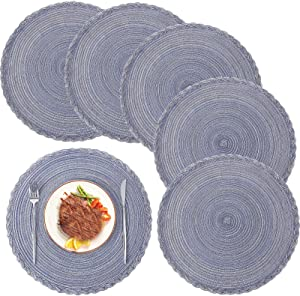 U'COVER Round Placemats for Dining Table Set of 6, Cotton Woven Placemats Non Slip Heat Resistant Washable Place Mats Table Protective Decor Mat 15 inch (Grey Blue, 6)