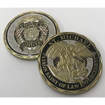 """Stunning ST. MICHAEL """"Patron Saint of Law Enforcement"""" Challenge Coin. Cast with beautiful Iron Plating & Ancient Bronze: Toys & Games"""
