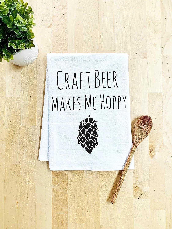 Funny Dish Towel, Craft Beer Makes Me Hoppy, Flour Sack Kitchen Towel, Sweet Housewarming Gift, Farmhouse Kitchen Decor, White