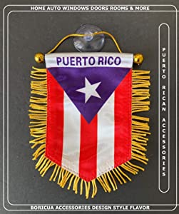Puerto Rico Flags for Cars Accessories Sticker Decals Puerto Rican PR Homes Boricua Banderas para Autos Small Mini Banner Hanging Window car Flags Accessory for Men Women (PR Combo 5)