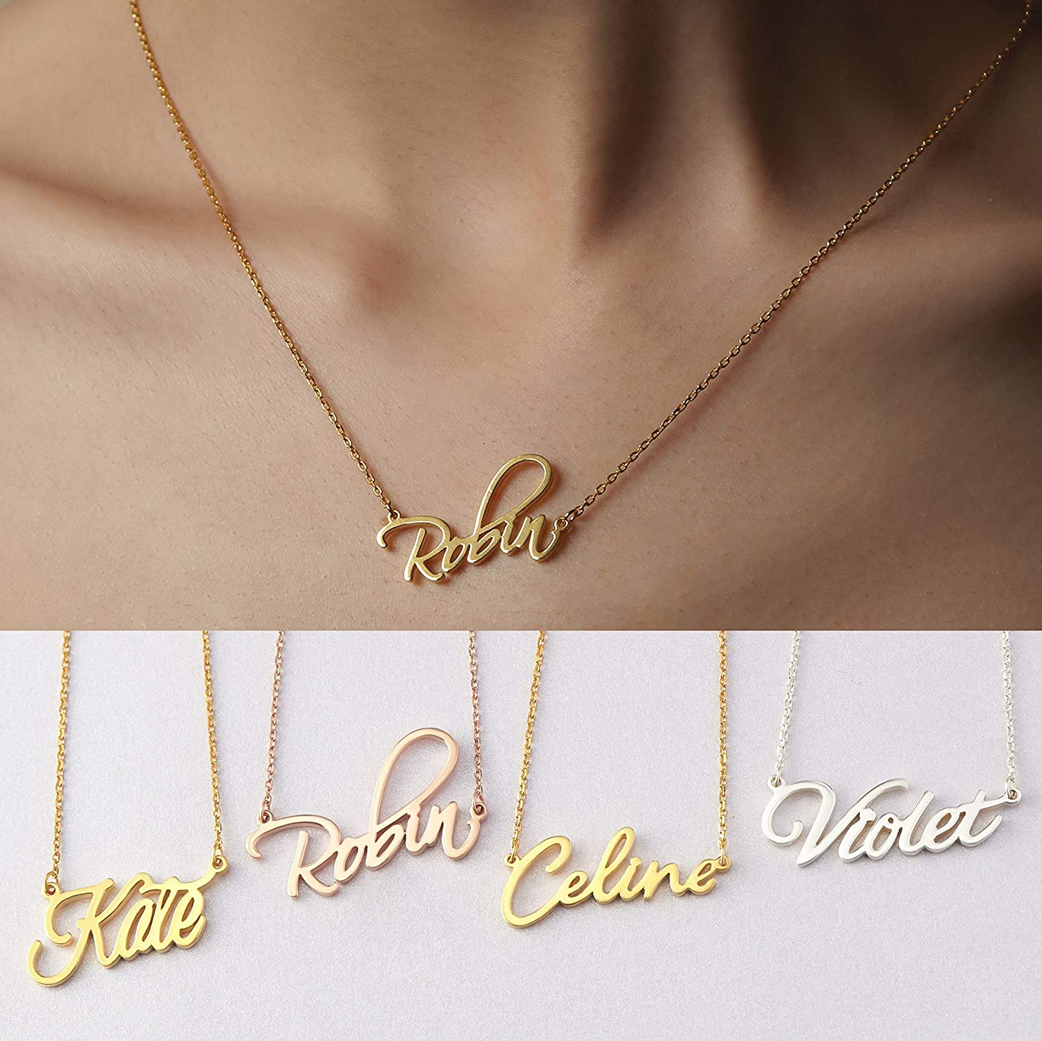 Name Necklace Personalized, Custom Name Pendant Christmas Jewelry Gift for  Girls