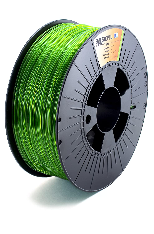 BASICFIL PET 1.75mm 1 kg filamento de impresi/ón 3D Plata