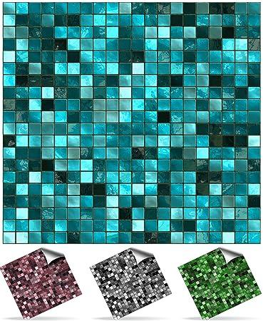 Badezimmer fliesen mosaik türkis  30 stück Fliesenaufkleber für Küche und Bad (Tile Style Decals ...