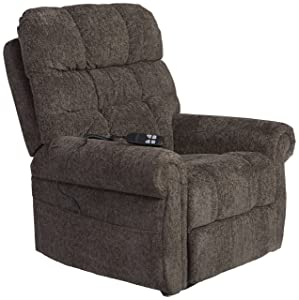 Ashley Furniture Signature Design - Ernestine Power Lift Recliner - Dual Motor Design - Polyester Upholstery - Contemporary - Slate