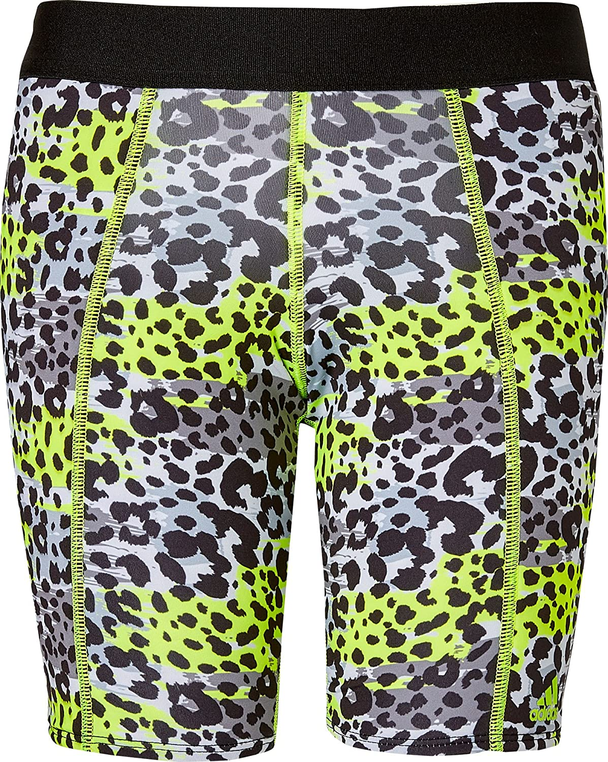 Adidas Girls ' Destiny Printed Sliding Shorts B0793R8M7FNeon Yellow Animal Print Medium