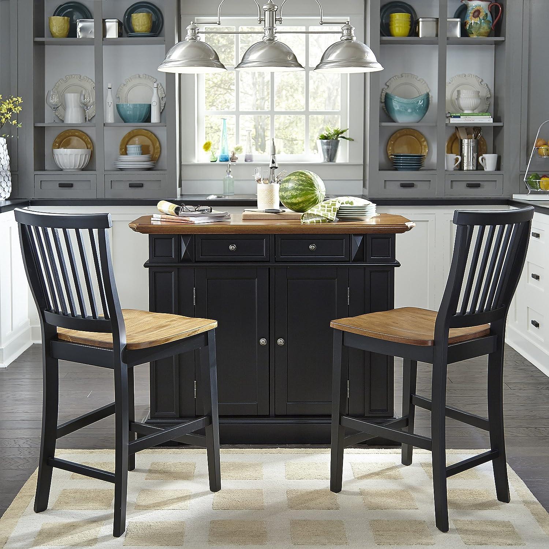 amazoncom home styles kitchen island with stool black and distressed oak finish kitchen islands u0026 carts