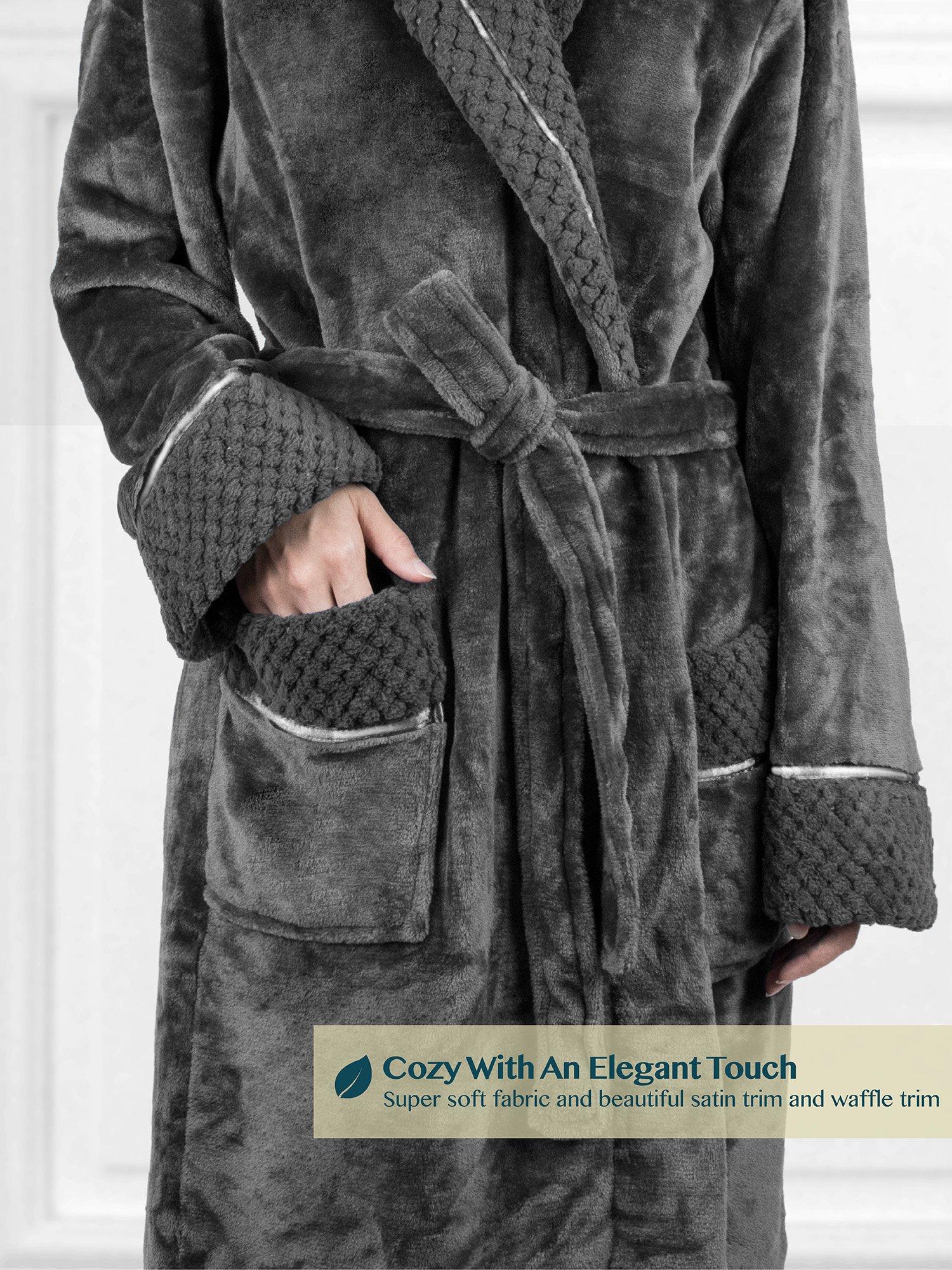Deluxe Women Fleece Robe with Satin Trim | Luxurious Plush Spa Bathrobe Waffle Design by PAVILIA (Image #5)