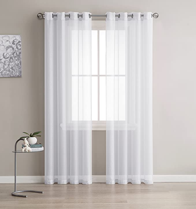 Linenzone Grommet Semi Sheer Curtains 2 Pieces Total Size 108 Inch Wide 54 Inch Each Panel 84 Inch Long Panels Beautiful Elegant Natural Light Flow Material 54 W X 84 L White Kitchen Dining Amazon Com