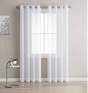 High Quality Grommet Semi Sheer Curtains   2 Pieces   Total Size 108 Inch Wide (54
