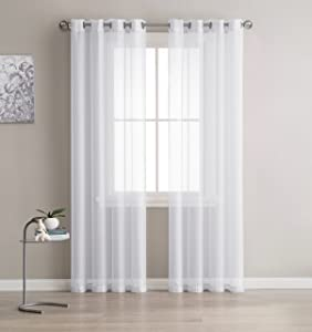"""LinenZone - Semi Sheer Grommet Curtains - 2 Pieces - Total Size 108 Inch Wide (54 Inch Each Panel) - 84 Inch Long Panels - Beautiful, Elegant, Natural Light Flow Material (54"""" W x 84"""" L, White)"""