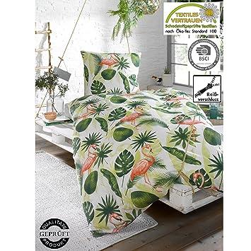 Bettwäsche Baumwolle Polyester Flamingo Dschungel Mit Rv
