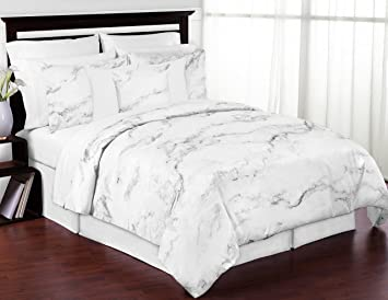 modern grey black and white marble 3 piece full queen bedding set collection