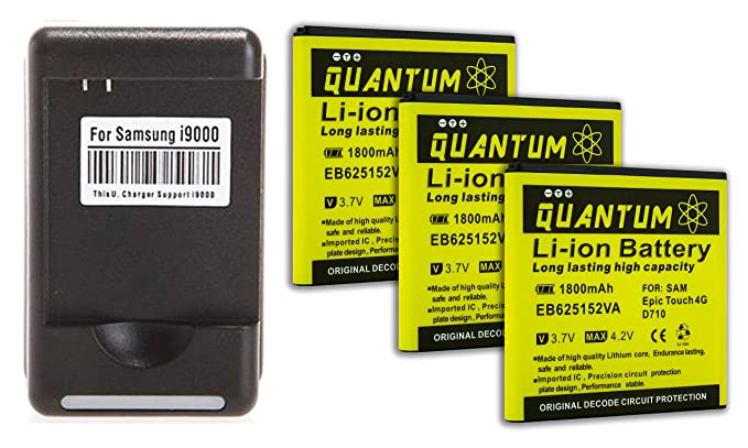 Amazon.com: QUANTUM 3X Baterías 1,800 mAh + Cargador de ...