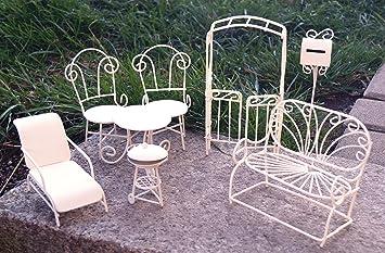 Metall Miniatur Gartenmöbel Set 8 Tlg. Weiß Mini Garten Dekoration Möbel