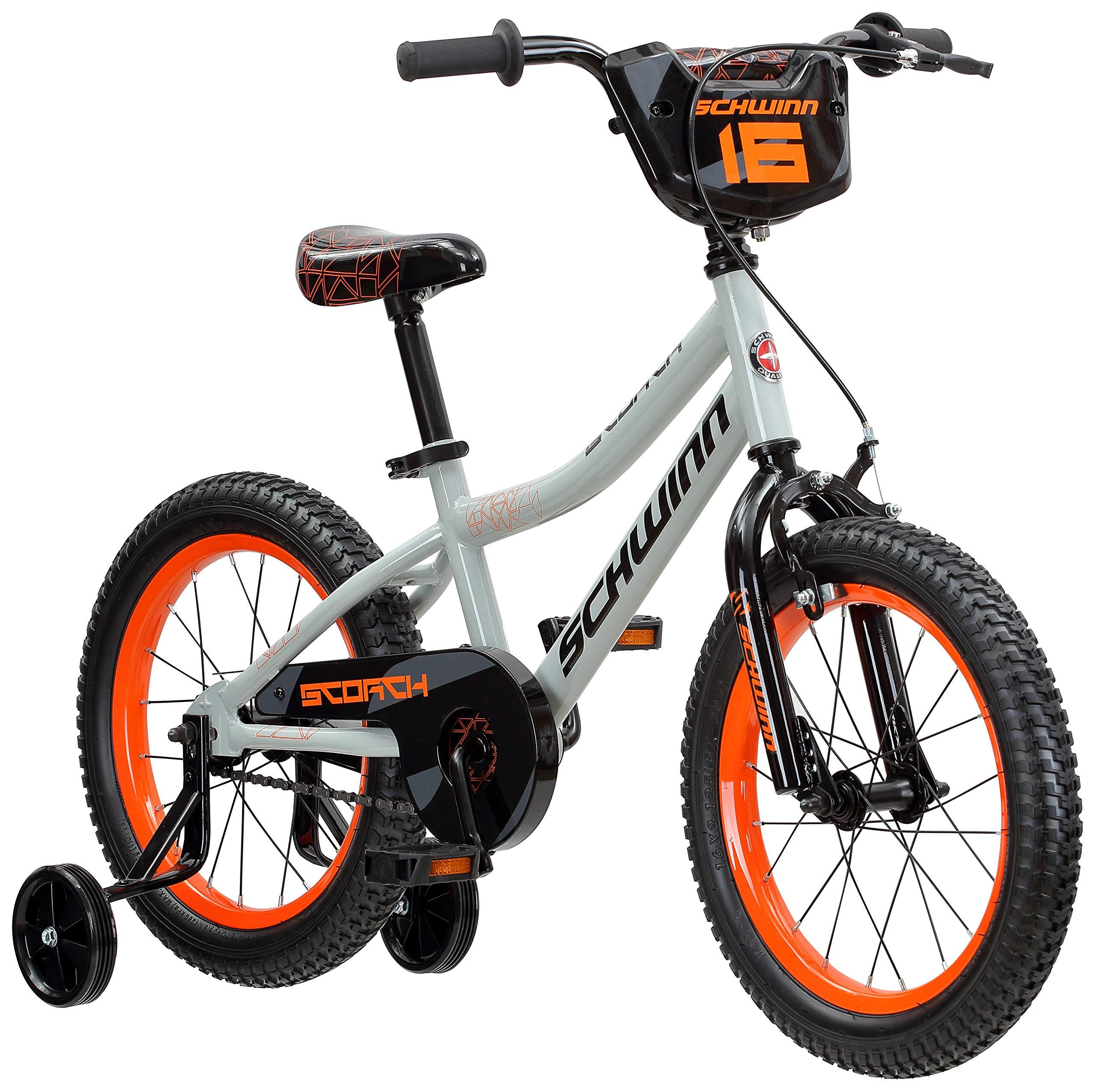 Schwinn Scorch Boy's Bike with Training Wheels, 16'' Wheels, Grey by Schwinn