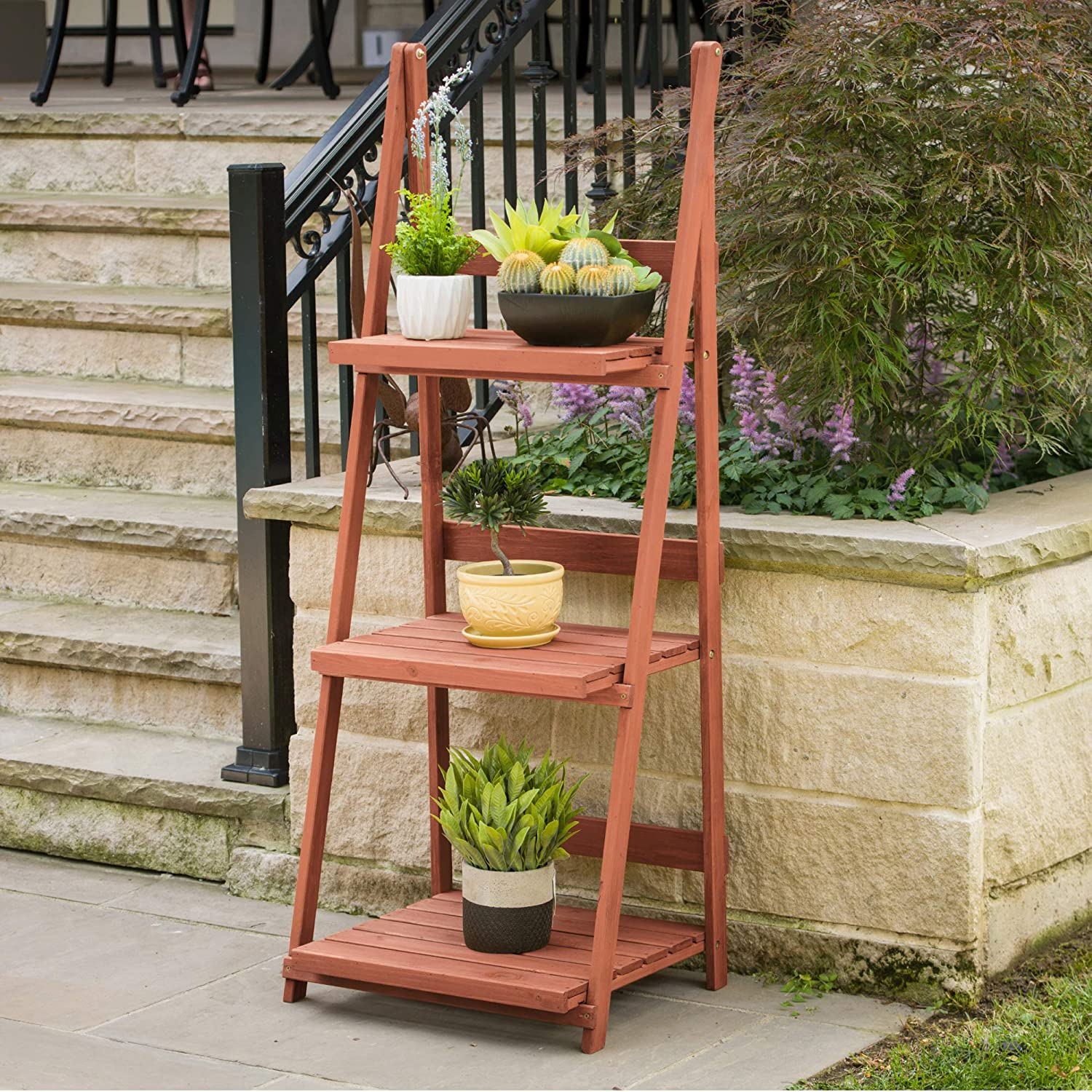 Amazon Com Leisure Season Ps6114 3 Tier A Frame Plant Stand Brown Plant Stands Indoor Wood Garden Outdoor