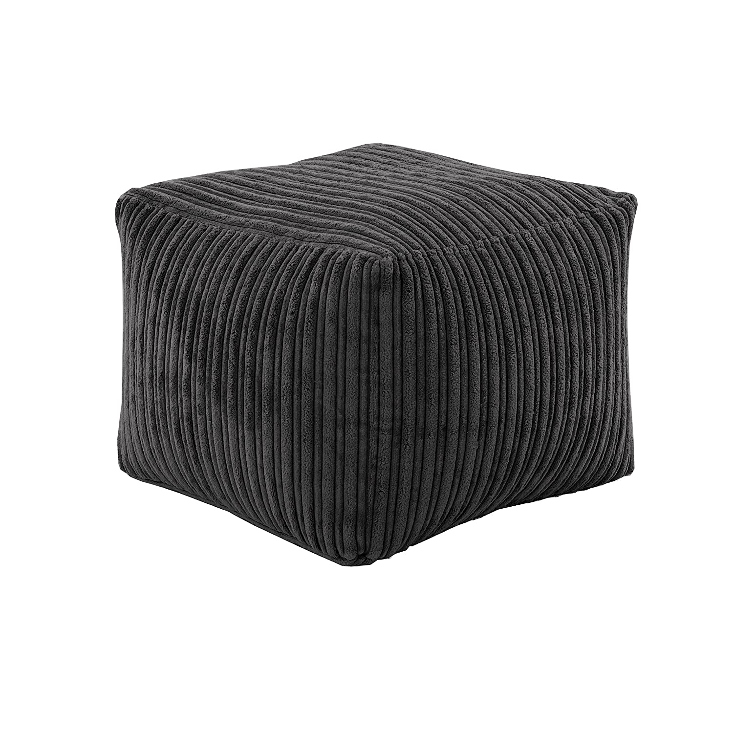 Hippo Black Square Bean Bag Footstool Pouffe Seat in Soft Jumbo Cord Fabric