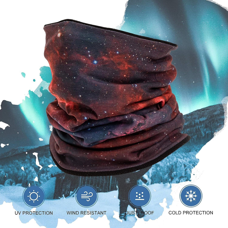 ENERBLOOM Fleece Neck Warmer Gaiter Winter Scarf Face Cover Bandana GalaxyStarry