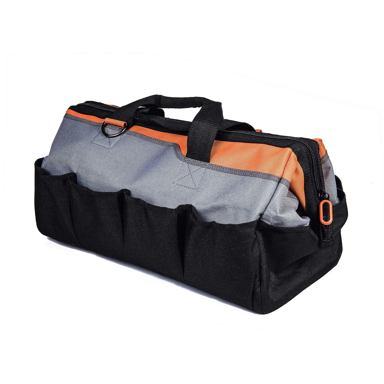 Tactix 323141 Gate Mouth Tool Bag 20-Inch Black//Orange